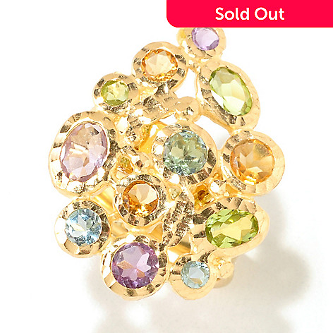 125-067 - Viale18K® Italian Gold Faceted Multi Gemstone Hammered Ring