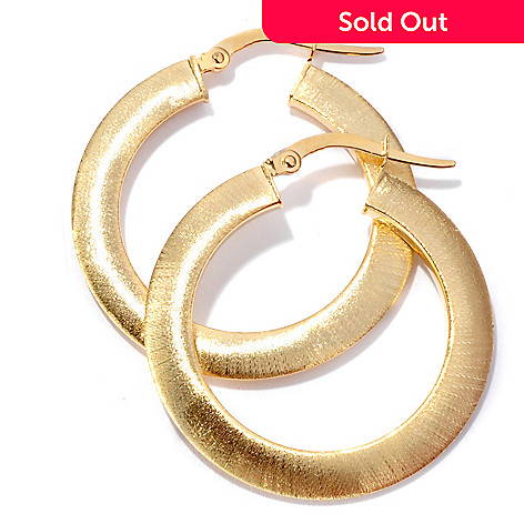 125-072 - Viale18K® Italian Gold Satin Finished Hoop Earrings