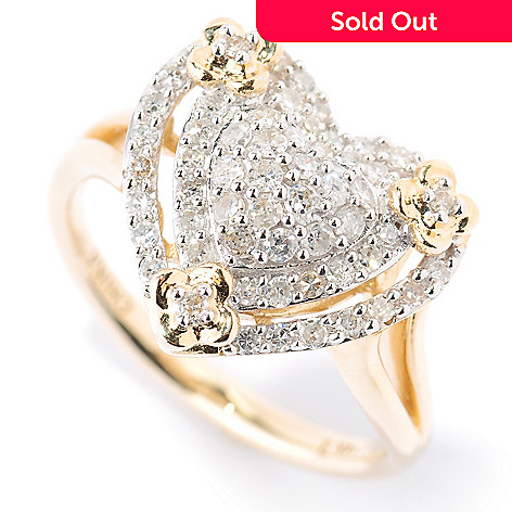 125-079 - 14K Gold 0.50ctw Pave Diamond Heart Ring