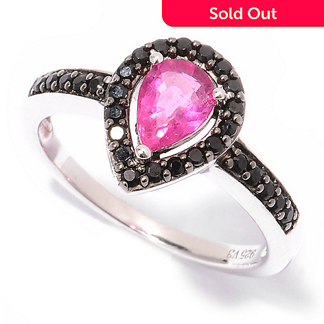 125-082 - Gem Insider™ Sterling Silver 0.84ctw Rubellite & Black Spinel Pear Shaped Ring