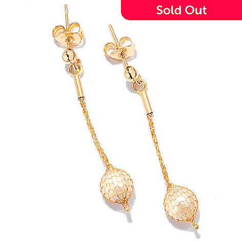 125-086 - Italian Designs with Stefano 14K Gold 24'' Cultured Freshwater Pearl Drop Earrings
