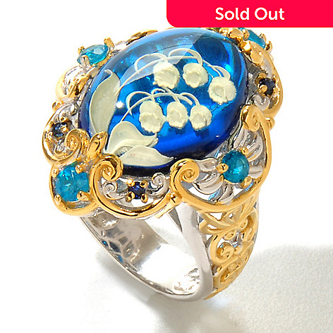125-112 - Gems en Vogue II 18 x 13mm Carved Amber, Neon Apatite & Sapphire Ring