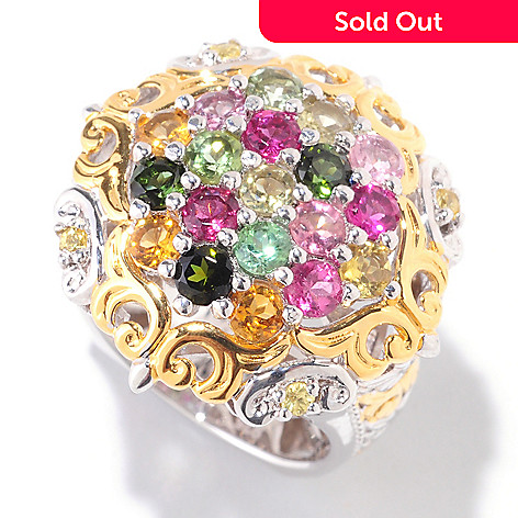 125-115 - Gems en Vogue 2.44ctw Multi Color Tourmaline & Yellow Sapphire Cluster Ring