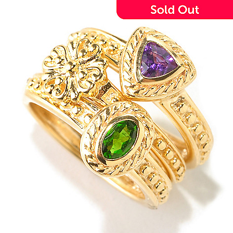 125-126 - Jaipur Jewelry Bazaar™ Gold Embraced™ Set of Three Multi Gemstone Stack Rings