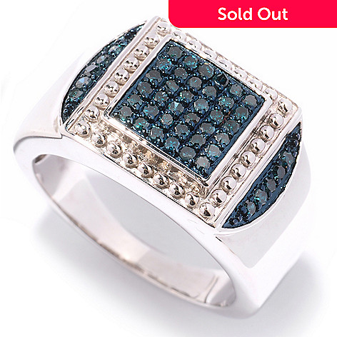 125-128 - Diamond Treasures® Men's Sterling Silver 0.49ctw Diamond Beaded Frame Ring