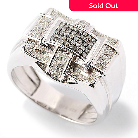 125-132 - Diamond Treasures® Men's Sterling Silver 0.31ctw Diamond Multi Level Ring