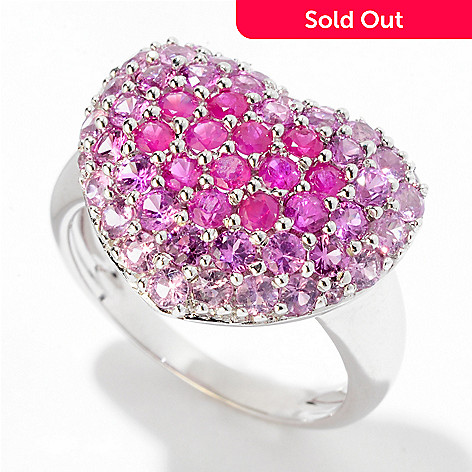 125-135 - Gem Insider™ Sterling Silver 1.52ctw Pink Sapphire Heart Ring