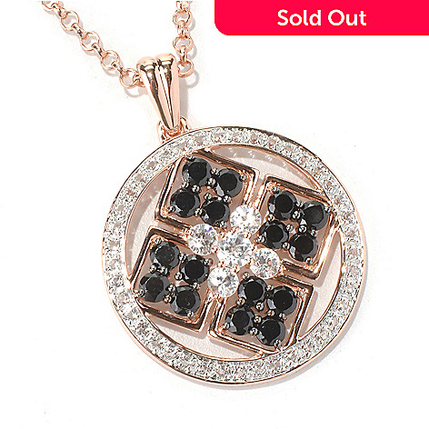125-139 - NYC II® 3.01ctw Black Spinel, White Topaz & Zircon Medallion Pendant w/ Chain