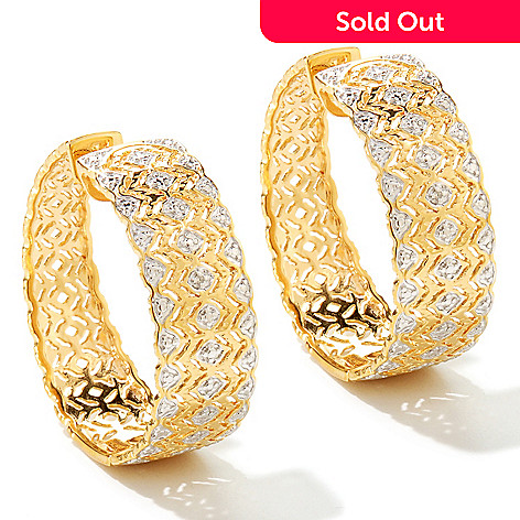 125-143 - Jaipur Jewelry Bazaar™ Gold Embraced™ Diamond Filigree Hoop Earrings