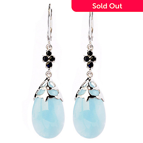 125-164 - Gem Insider™ Sterling Silver 22 x 13mm Milky Aquamarine & Blue Sapphire Earrings