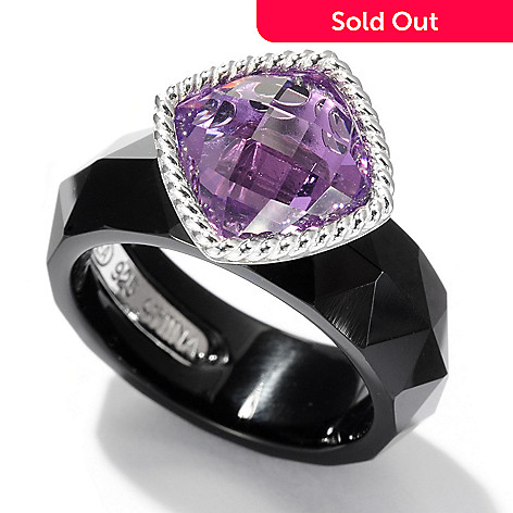 125-166 - Gem Insider Sterling Silver 12.00ctw Cushion Cut Amethyst & Black Agate Ring