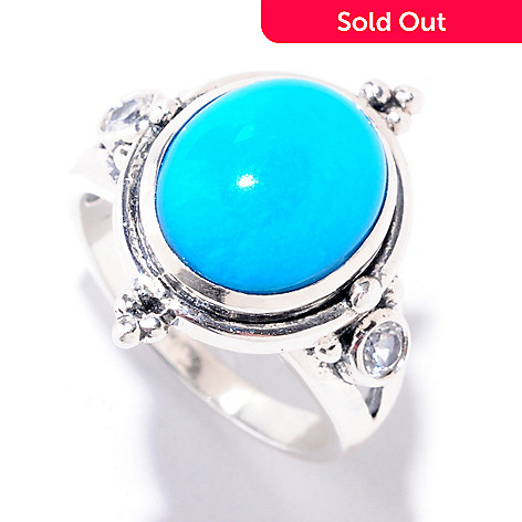 125-170 - Gem Insider™ Sterling Silver 12 x 10mm Sleeping Beauty Turquoise & White Topaz Ring