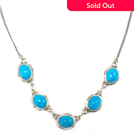 125-178 - Gem Insider Sterling Silver 18'' Sleeping Beauty Turquoise Station Necklace