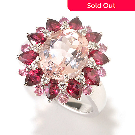 125-180 - Gem Insider® Sterling Silver 4.34ctw Morganite & Multi Gemstone Flower Ring