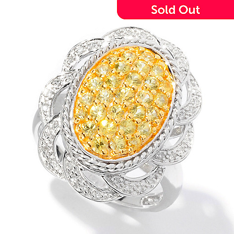 125-185 - Gem Insider™ 0.94ctw Yellow Sapphire & Diamond Oval Pave Flower Ring