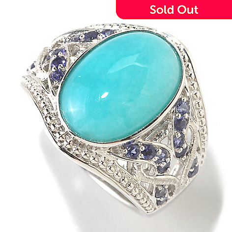 125-186 - Gem Insider™ Sterling Silver 15x10mm Oval Amazonite & Iolite Ring