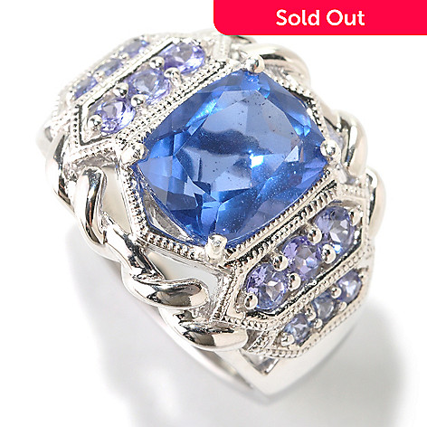 125-189 - Gem Insider™ Sterling Silver 3.28ctw Fluorite & Tanzanite Tiered Ring