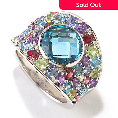 125-190 - Gem Insider Sterling Silver 6.04ctw London Blue Topaz & Multi Gem Ring