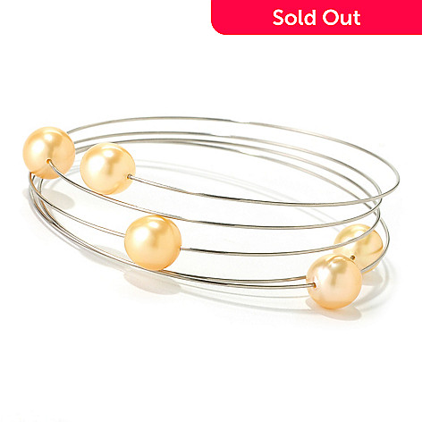 125-199 - Stainless Steel 30'' 8-9mm Golden Cultured South Sea Five Pearl Wrap Bracelet