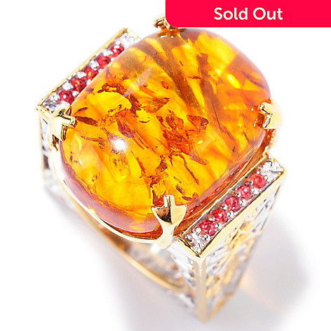 125-202 - Gems en Vogue 20 x 15mm Baltic Amber & Orange Sapphire Euro Shank Ring
