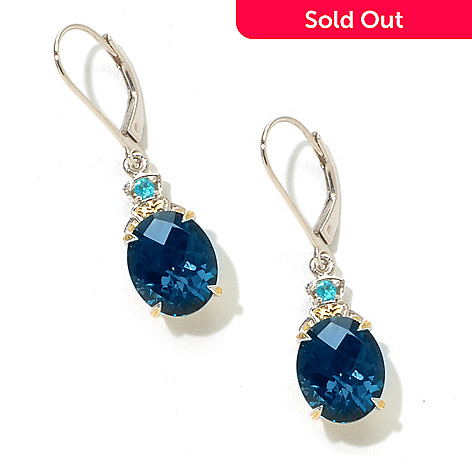 125-203 - Gems en Vogue 11 x 9mm Checkerboard Cut Gemstone Drop Leverback Earrings