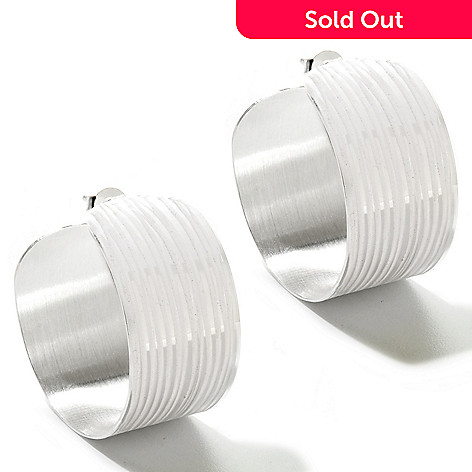 125-246 - SempreSilver™ Diamond Cut & Satin Finished Hoop Earrings