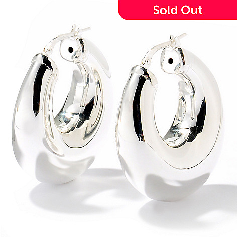 125-249 - SempreSilver™ Electroform Polished Hoop Earrings