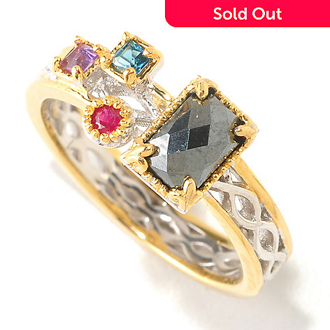 125-260 - Gems en Vogue Hematite & Multi Gemstone ''Mini Manhattan'' Stack Band Ring