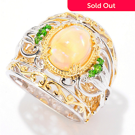 125-264 - Gems en Vogue 10 x 8mm Ethiopian Opal & Chrome Diopside Wide Band Ring