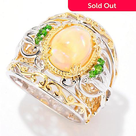 125-264 - Gems en Vogue 10 x 8mm Ethiopian Opal & Chrome Diopside Wide Band Ring