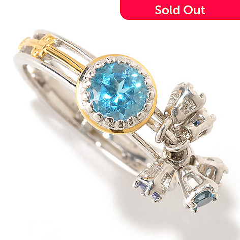 125-273 - Gems en Vogue Swiss Blue & London Blue Topaz, Tanzanite, Zircon & Sapphire Ring