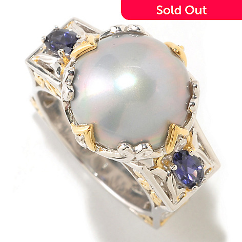 125-275 - Gems en Vogue Mabe Freshwater Cultured Pearl & Multi Gemstone Square Shank Ring