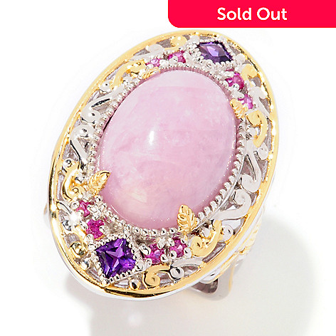 125-279 - Gems en Vogue 11.42ctw Kunzite, Amethyst & Sapphire Two-tone Ring