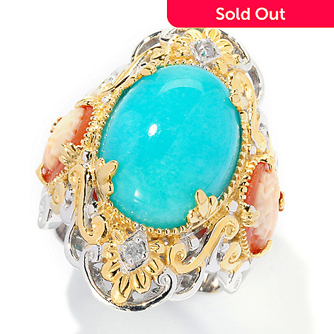 125-300 - Gems en Vogue 16 x 12mm Amazonite & Sapphire Carved Cameo Ring
