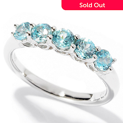 125-304 - Gem Treasures® Sterling Silver 1.22ctw Zircon Five-Stone Band Ring