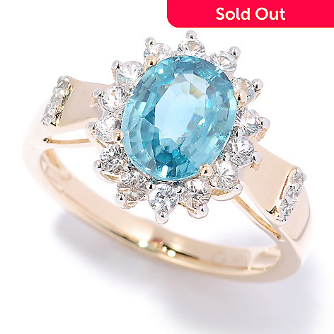 125-314 - Gem Treasures® 14K Gold 3.00ctw Oval Blue Zircon & White Sapphire Frame Ring