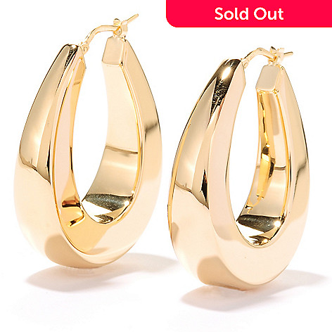 125-316 - Portofino 18K Gold Embraced™ 1.25'' Polished Horseshoe Hoop Earrings