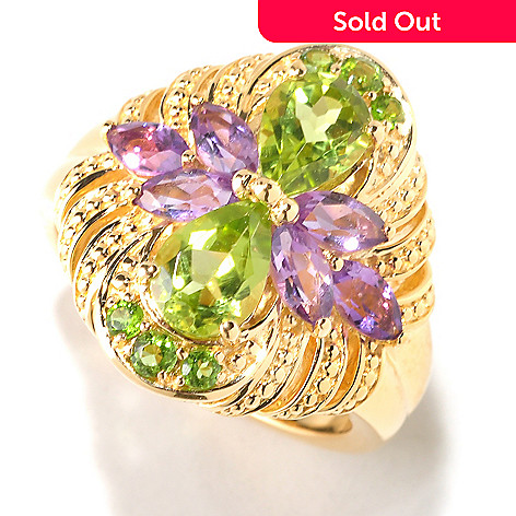 125-319 - NYC II 1.89ctw Amethyst, Peridot & Chrome Diopside Ring