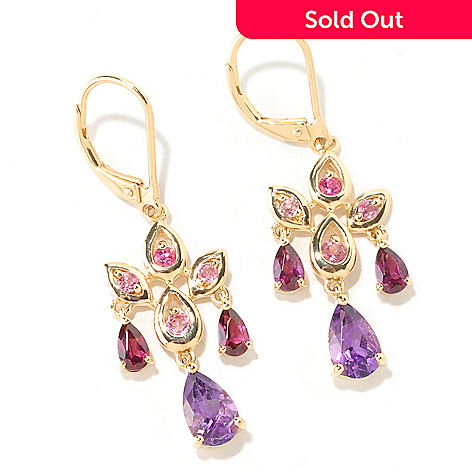 125-320 - NYC II™ 1.5' 2.29ctw Amethyst, Pink Tourmaline, Garnet & Rubellite Chandelier Earrings