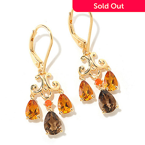 125-321 - NYC II 2.16ctw Citrine, Smoky Quartz & Fire Opal Earrings