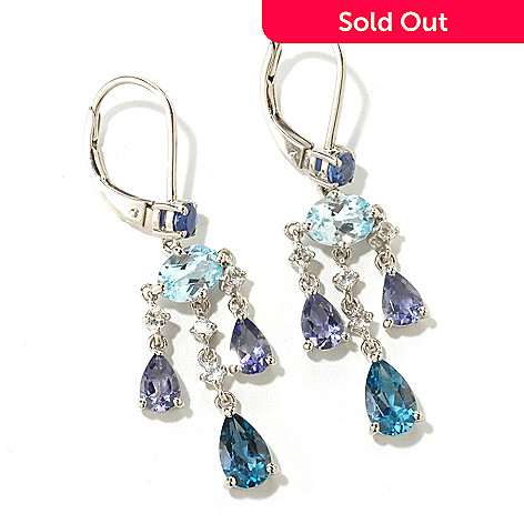 125-322 - NYC II® 1.75'' 4.61ctw London Blue Topaz, Kyanite, Iolite & Topaz Earrings