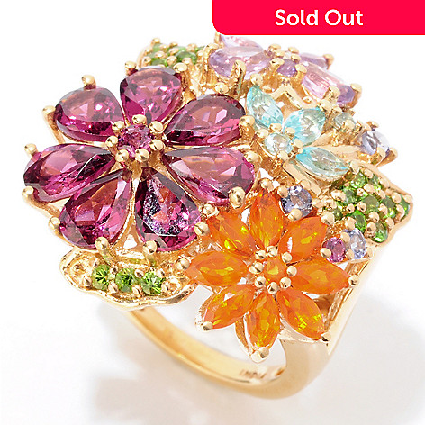 125-323 - NYC II 4.25ctw Multi Gemstone Exotic Flower Ring