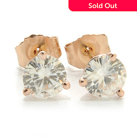125-334 - Forever Brilliant® Moissanite 14K Gold Round Martini Stud Earrings
