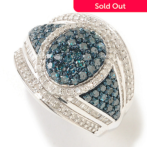 125-353 - Diamond Treasures® Sterling Silver 1.60ctw Pave Oval Blue & White Diamond Ring
