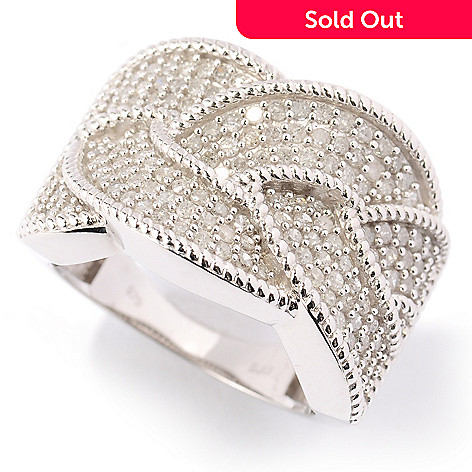 125-356 - Diamond Treasures Sterling Silver 1.10ctw Pave Diamond Braid Ring