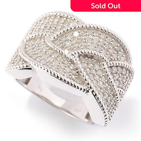 125-356 - Diamond Treasures Sterling Silver 1.10ctw Pave Diamond Braid Ring