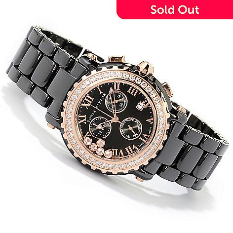 125-363 - Sonia Bitton Women's Simulated Diamond Lunette Swiss Chronograph Bracelet Watch