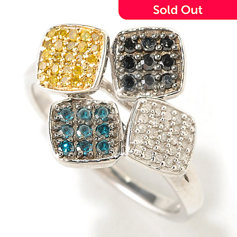 125-367 - Diamond Treasures® Sterling Silver 0.40ctw Fancy Colored Diamond Four-Square Ring
