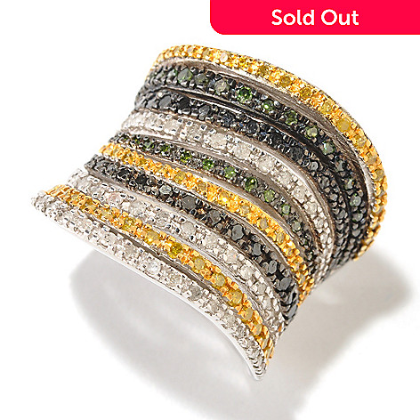 125-368 - Diamond Treasures Sterling Silver 1.40ctw Fancy Color Diamond Wide Band Ring