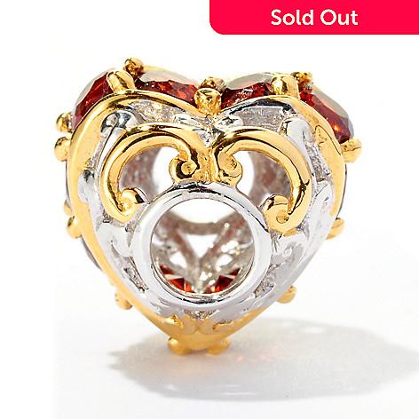 125-374 - Gems en Vogue 1.40ctw Garnet 10-Stone ''Amore'' Heart Charm